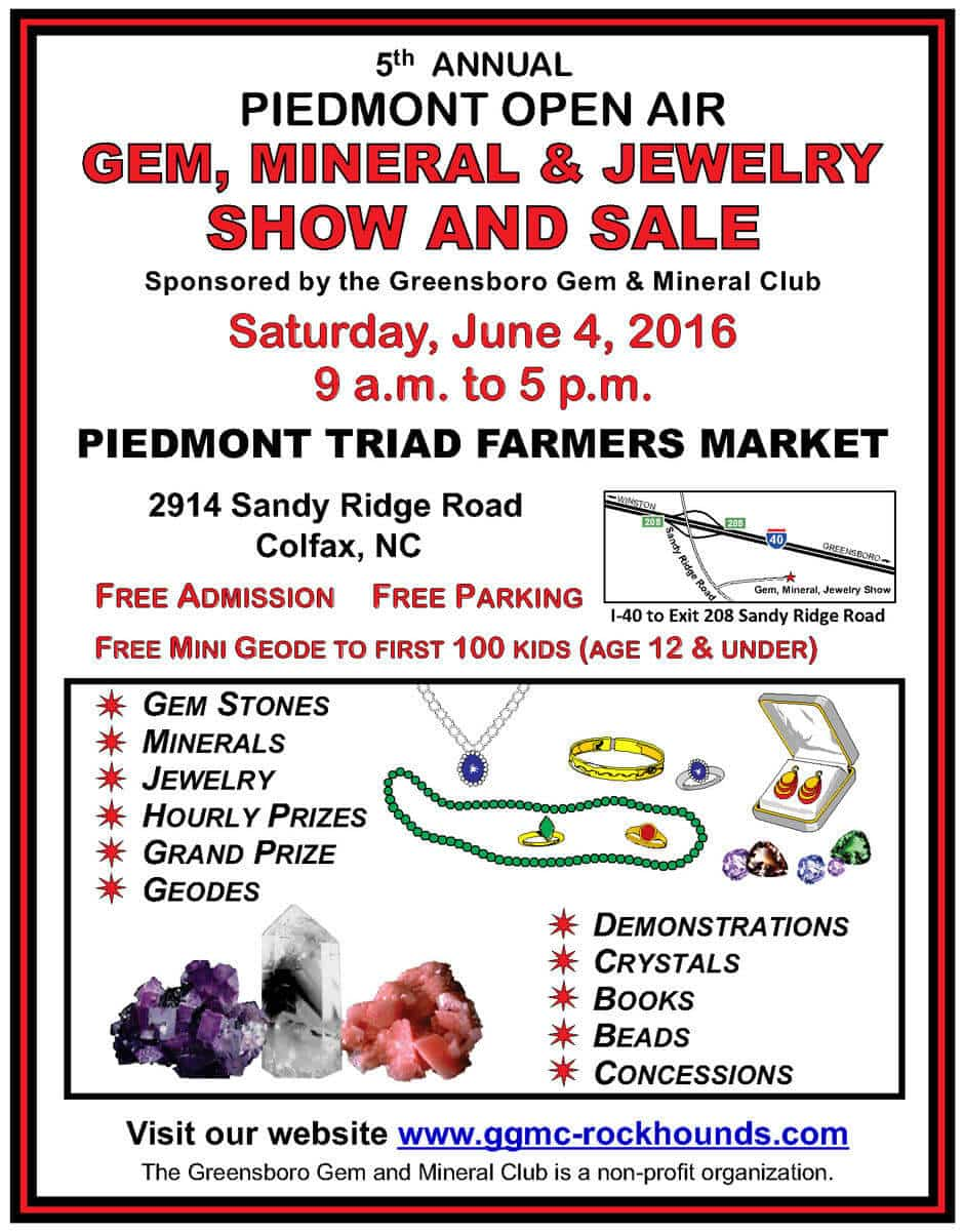 GGMC 5th Annual Piedmont Gem and Jewelry Sale June 4 2016