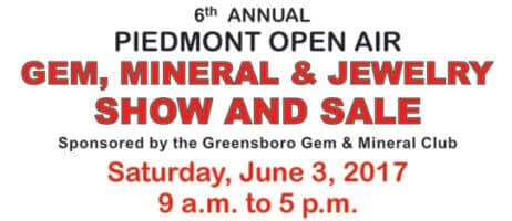 Open Air Gem and Mineral Sale June 3rd 2017 by the Greensboro NC Gem and Mineral Club